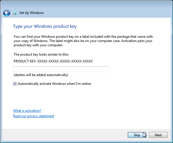 Enter Product Key For Windows 7 Or Click Skip To Do It Later