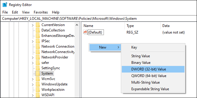 Go To Registry Settings Path And Create A New Dword