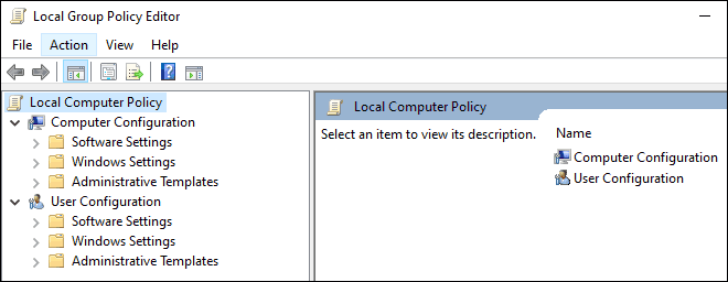 Local Group Policy Editor Console