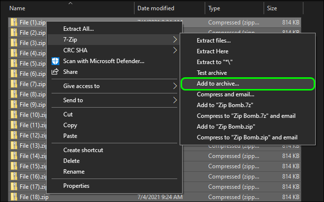 Make Copies Of Zip File And Add Them All To Archive