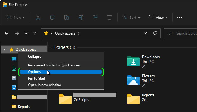 Right Click On Quick Access And Select Options