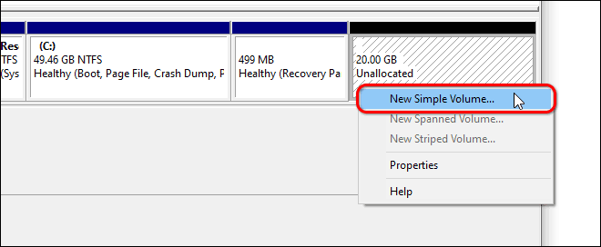 Right Click On Unallocated Space And create a New Simple Volume from unallocated space in windows 10 or 11