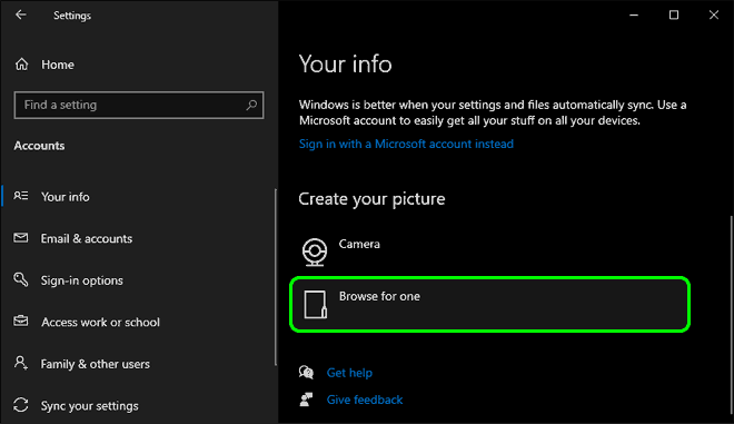Scroll Down And Click Browse For One Under Create Your Picture To Change Profile Picture In Windows 10