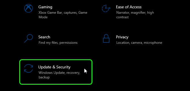 Scroll Down And Select Update And Security In Windows 10 Settings