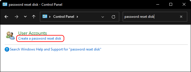 Search And Open Password Reset Disk From Control Panel