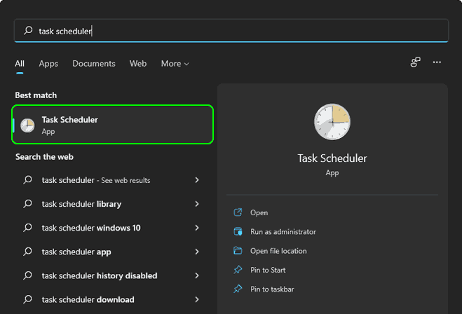 Search And Open Task Scheduler In Windows 11