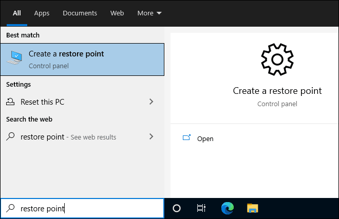 Search For Restore Point On Start And Click Create A Restore Point