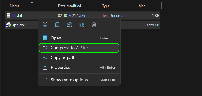 Select And Zip All Your Files That You Want To Hide Behind The Image