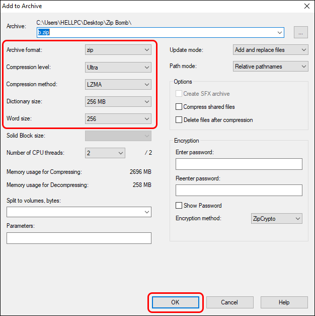 Select Compression Level To Ultra And Archive Type To Zip And Click Ok
