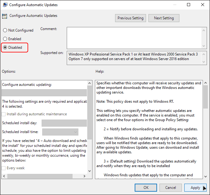 Select Disabled In Policy Settings To Disable Automatic Windows Updates In Windows 10
