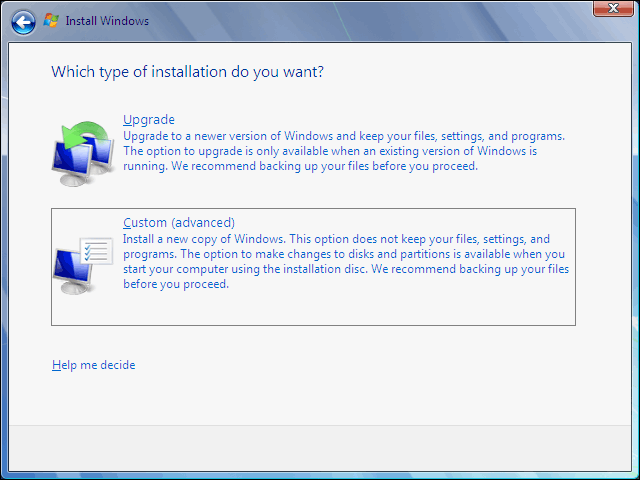 Select Installation Type As Custom Advanced