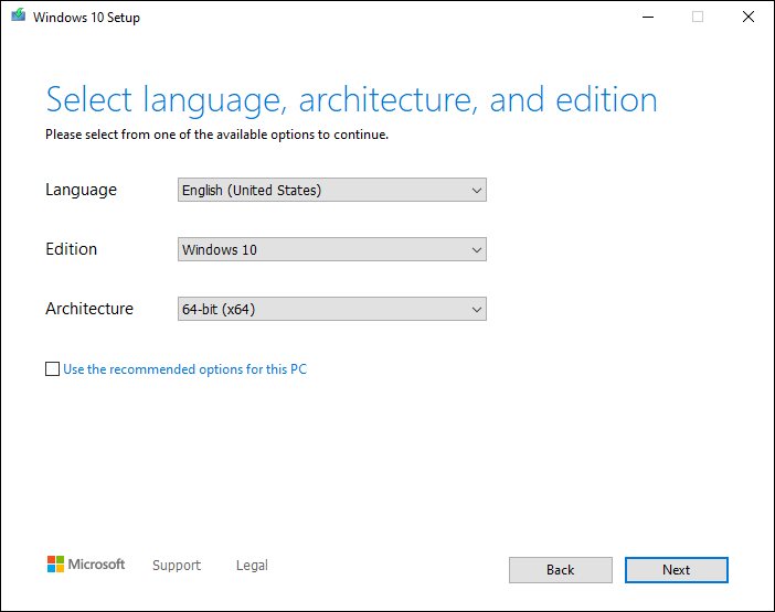 Select Language And Architecture For Downloading Windows 10 Iso File And Click Next