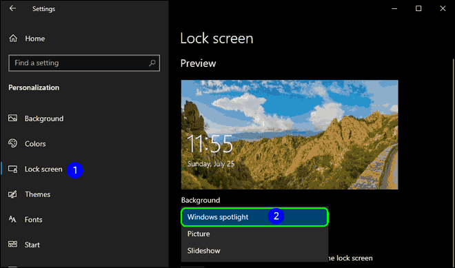 Select Lock Screen From Left Pane And Select Windows Spotlight As Background
