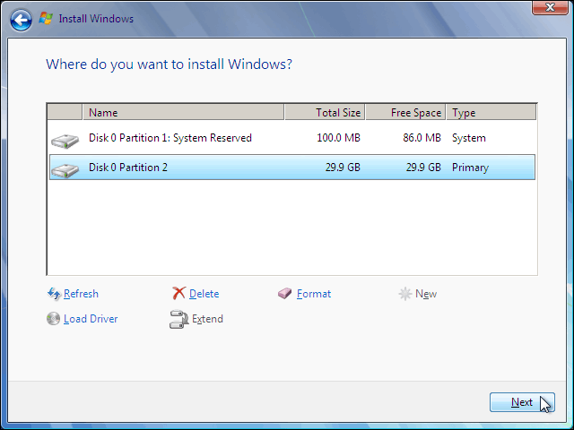 Select Newly Created Partition And Click Next To Clean Install Windows 7 On It