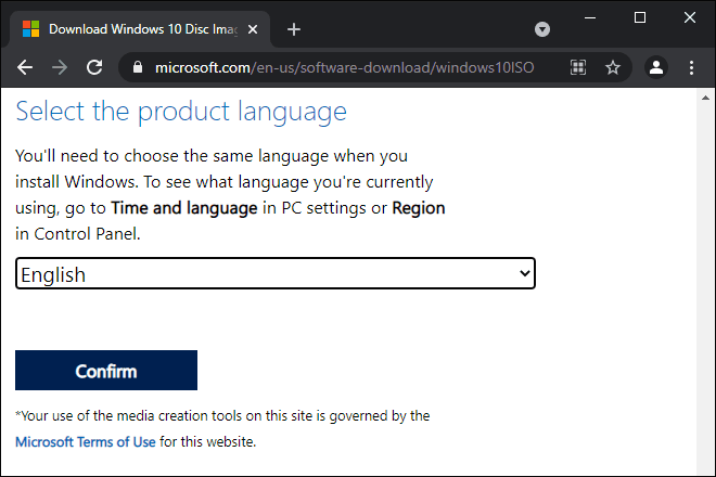 Select Product Language And Click Confirm