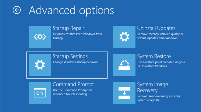Select Startup Settings From Advanced Options Menu