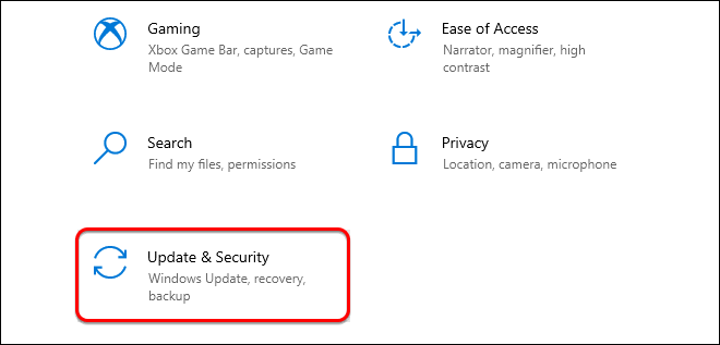 Select Update And Security In Settings