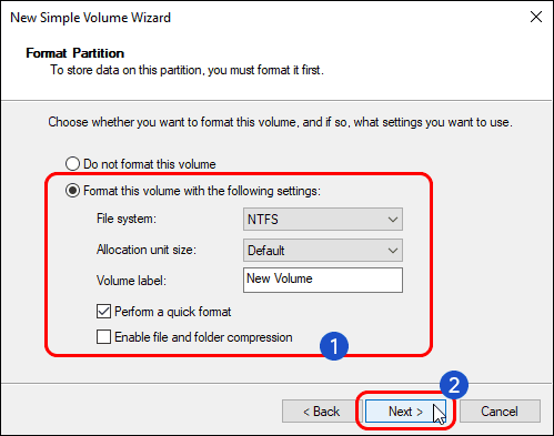 Select Volume File System Volume Label And Click Next