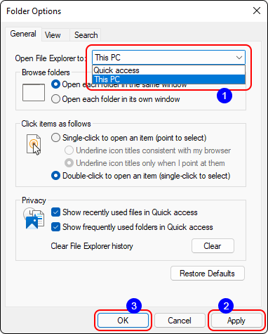 Set Open Explorer To This Pc And Click Ok To Disable Quick Access In Windows 11 And 10