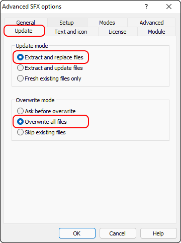 Sfx Options Update Tab Overwrite All Files And Click Ok
