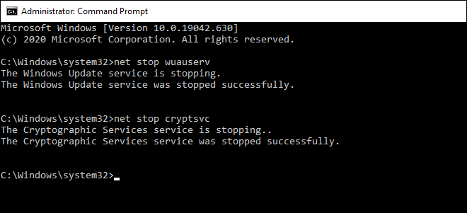 Stop wuauserv And cryptsvc Services Via Command Prompt