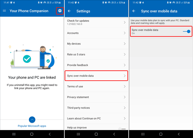 Turn On Sync Over Mobile Data In Your Phone App On Android - connect your phone to windows 10