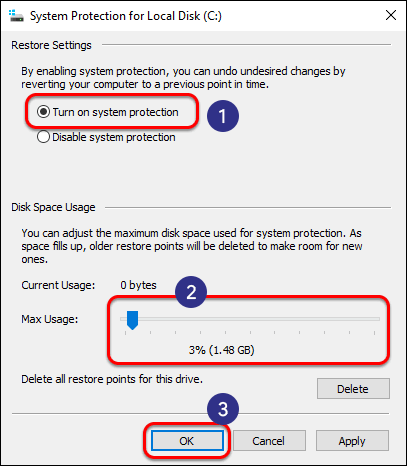 Turn On System Protection Define Max Disk Usage And Click Ok