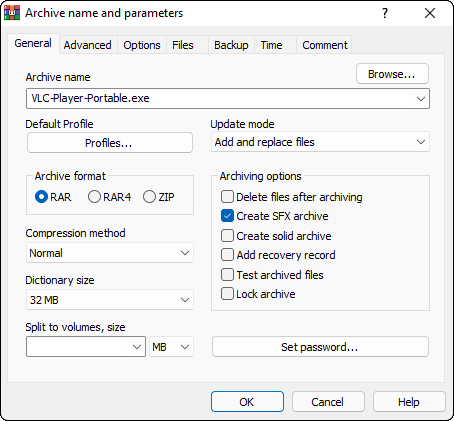 Type A Name For Portable Application And Select Create Sfx Archive