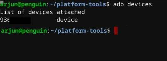View attached devices on ADB terminal on Linux