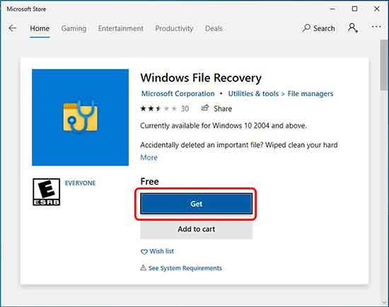 download and install windows file recovery from Microsoft store