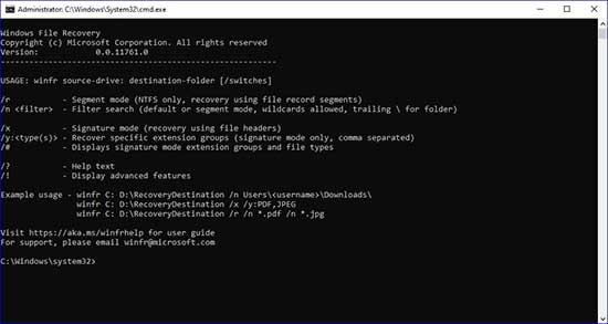 Windows File Recovery Console