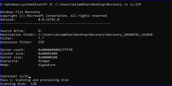 recovering files in signature mode