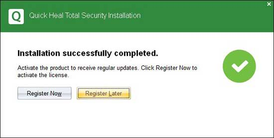 click register later to exit installation wizard