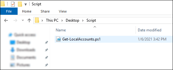 Get local accounts from domain computers: Script Saved As Ps1 File On Computer