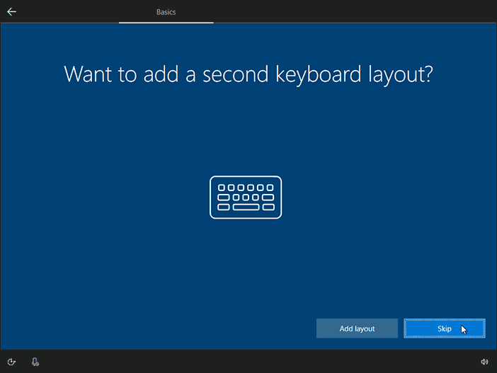Add A Second Keyboard Layout Or Simply Click On Skip