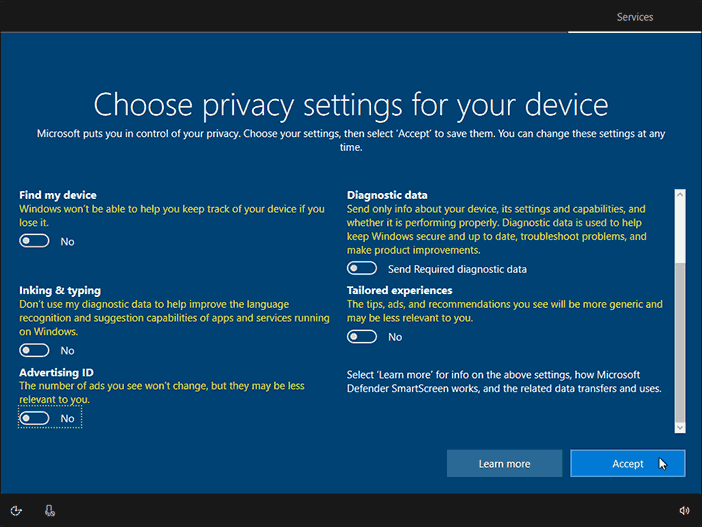 Choose Privacy Settings For Your Device And Click Accept