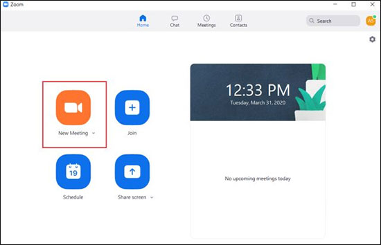 Click On New Meeting From Zoom Dashboard - use zoom for video conferencing