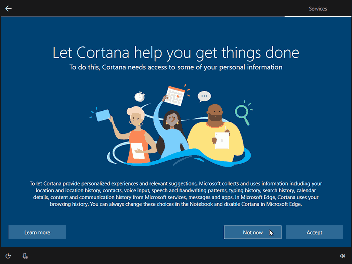 Configure Cortana Or Click On Not Now To Configure Cortana Later