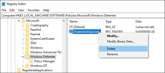 Delete Disableantispyware Dword From Registry Editor
