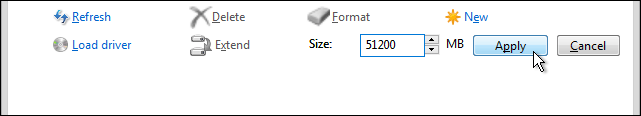 Enter The Size For New Partition And Click Apply To Create A New Partition