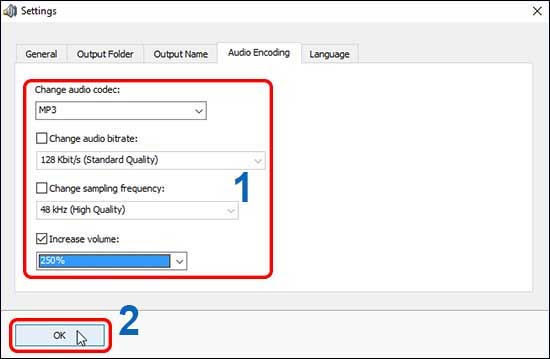 Go To Audio Encoding Tab And Increase Mp3 Volume Change Bitrate And Click Ok