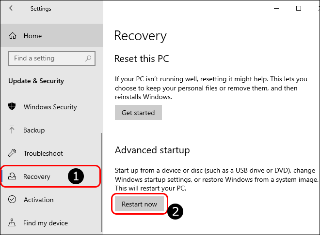 Go To Recovery Settings And Click Restart Now Under Advanced Startup