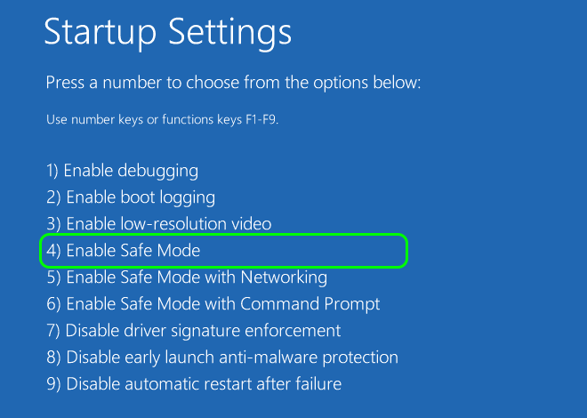 In Startup Settings Press F4 Or Number 4 Key To Boot Windows 10 Into Safe Mode