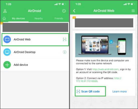 Install Airdroid App On Your Iphone And Tap On Scan Qr Code In Airdoid Web Section