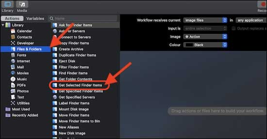 Now Select Files And Folders And Choose Get Select Finder Items