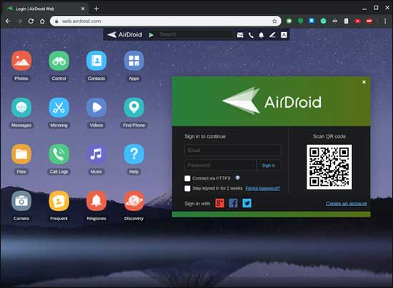 Open Airdroid Web Page On Chromebook And Scan Qr Code Via Airdroid App On Iphone