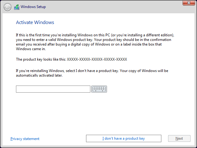 Provide Windows 10 License Key Or Click I Dont Have A Product Key