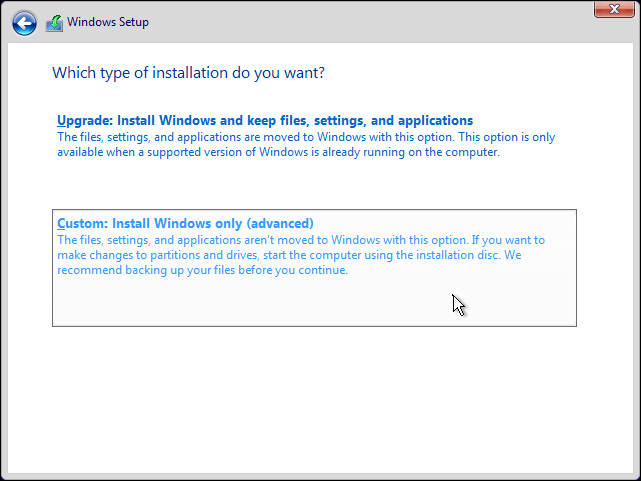 Select Custom Install Windows Only Option To Clean Install Windows 10