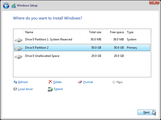 Select Newly Created Partition And Click Next To Clean Install Windows 10 On It