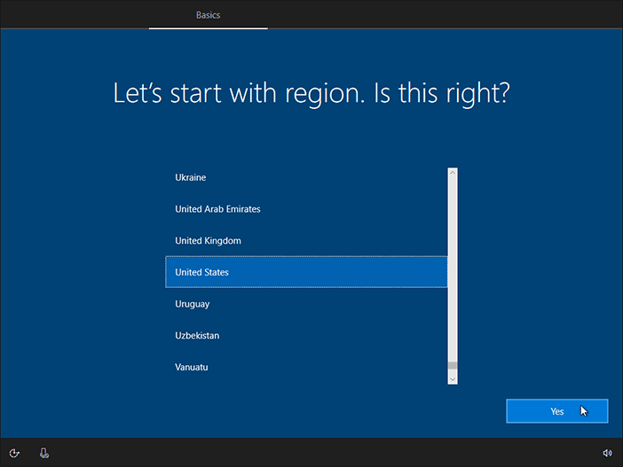 Select Region And Click Yes